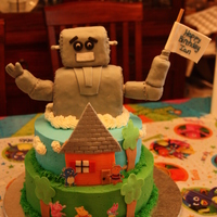 Backyardigans And The Robot Cake made for my son's 3rd birthday, based on the characters from an episode of Backyardigans. Robot made of RKT and fondant, cakes...