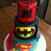 Superheroes Cake Spider-Man, Batman and Superman. Vanilla and chocolate cakes covered in smb with fondant accents. This was a fun cake to make!
