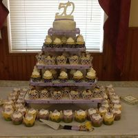 Cupcake Tower For A 50Th Wedding Anniversary Party Cupcake tower for a 50th wedding anniversary party.