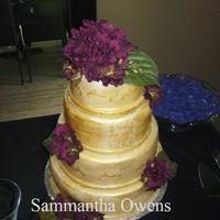Crackle Wedding Cake This cake was made to match the Brides dinner plates for her wedding. They were gold and crackled and had a faint damask design on them. So...