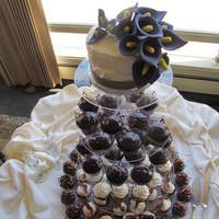 Jasmine & Sam 6 inch topper with purple calla lilies, and 4 kinds of cupcakes including maple bacon.