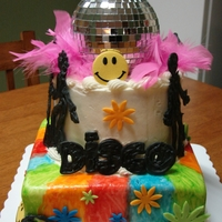 Disco Birthday   Fondant painted with gel color