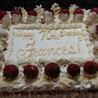 70Th Birthday Almond Cake Almond Whipped Cream Frosting White Chocolate Dipped Strawberries And Decorations Slivered Almonds Sprinkled  70th birthday; almond cake; almond whipped cream frosting; white chocolate dipped strawberries and decorations; slivered almonds sprinkled...