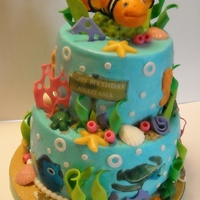 Nemo Under The Sea Cake Buttercream with fondant accents including Nemo.