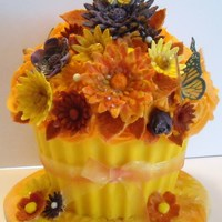 Autumn Big Cupcake MARBLE CAKE, GUMPASTE FLOWERS AND BUTTERFLIES, FONDANT COVERED CAKE BOARD.
