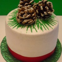 Chocolate 2 Layer Cake With Buttercream Icing And Gumpaste Pinecones Chocolate 2 layer cake with buttercream icing and gumpaste pinecones.