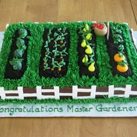 Gardening Cake This was done for a friend who was graduating as a Master Gardener. The soil is crushed oreos, all the vegetables were made in fondant (...
