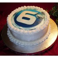 Wate Logo Buttercream cake with edible image logo for Channel 6 WATE