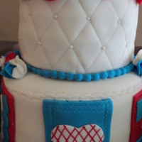 Quilt Cake  for an avid quilter. Quilt squares around the base and quilted top tier. Fondant ruffles on top. Each square has a different image but i...
