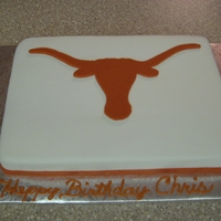 Texas Longhorn Cake chocolate fudge cake covered in mmf.