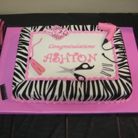 Cosmetology School Graduation Chocolate Fudge Cake with MMF. All decorations are fondant and gum paste.