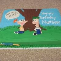 Phineas And Ferb Cake French Vanilla cake with BC icing. Characters are Royal icing transfers
