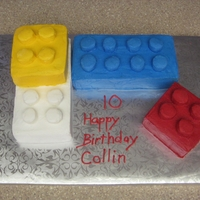 Lego Cake Lemon cake with BC icing. Used 1/2 a marshmallow covered in BC for the knobs.