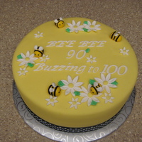 Bees Birthday Cake French Vanilla cake with MMF and fondant decorations