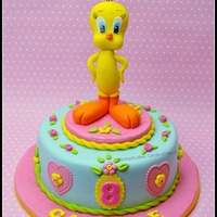 Tweey Cake This is the cake asked by my daughter for his birthay : she wanted Tweety and a moist chocolate cake (chocolate layer cake with vanilla...
