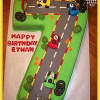 Race Car Cake I made this cake for a friends son. Everything is edible except the flags.Thanks for looking