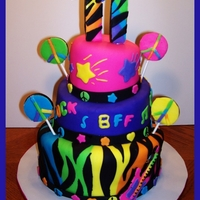 Neon Doodle Cake I made this cake to match the party design Neon Doodle. It was a fun cake to make!