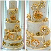 Peaches And Creama Peach And Ivory Vintage Wedding Cake With Gold Accents Peaches and Cream....A peach and ivory vintage wedding cake with gold accents.