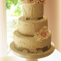 Lace Wedding Cake With Pink Sugar Roses Lace wedding cake with pink sugar roses