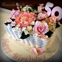 Basket Of Flowers Birthday Cake Basket of flowers birthday cake