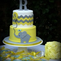 Yellow And Grey Chevron Baby Elephant 1St Birthday Cake With Yellow Rosette Smash Cake And Blue Bird Custom Cookies Yellow and grey chevron baby elephant 1st birthday cake with yellow rosette smash cake and blue bird custom cookies.