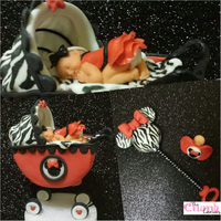 Zebra Print + Minnie Mouse= Most Fun Design Ever! All items are made from fondant. The strollers base is Styrofoam. The stick for the rattle is a cake pop/bling stick made by me.