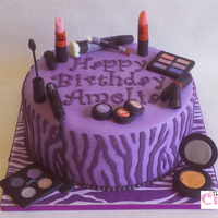 Purple Zebra Birthday Cake Made for a lady who loves purple, mac, and zebra stripes