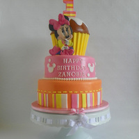 Zoeys First Birthday Cake Minnie first birthday, yellow cake with buttercream filling and frosting. All details are fondant and edible, thanks for looking