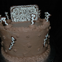 Choc Whipped Cream Birthday White cake with choc whipped cream frosting. Choc plaque, and choc swirls. TFL