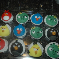 Angry Birds Special request from my niece. Angry Birds. Choc cupcake with buttercream filling, Vanilla with fudge filling and Strawberry wih strawberry...