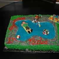 Nicolas Bday 10Th Vanilla cake with mik choc filling. Covered in buttercream. Pool has gel. Figures are out of fondant. TFL