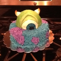 Mike And Sully This was for my sons fifth birthday! The cake is all buttercream with fondant for the eye, eyelid, and horns, I painted the blue eye on. I...