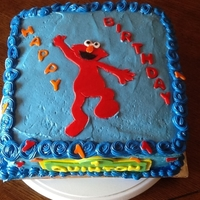 Elmo 1St Birthday! This is a red velvet cake with cream cheese icing and fondant accents. I made 2 cakes for his 1st birthday , so I was exhausted!