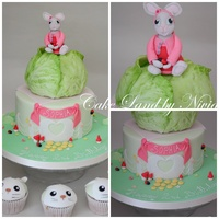Lily Rabbit Cake I used a mould for the cabbage leaf. The mould was made by using a real cabbage leaf.