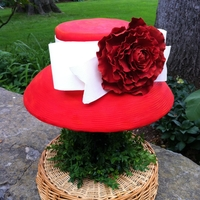 Red Derby Hat WASC cake covered in fondant with sugarpaste red peony and white bow