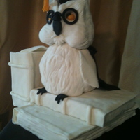 Owl Grad Cake Large book cake covered in chocolate fondant. Owl and white books made out of Rice Krispie treats and covered in fondant.