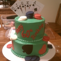 60Th Birthday Poker Cake two tier 60th birthday cake with modeling chocolate accents
