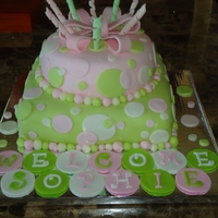 Circles & Swirls Key lime flavored cake with MMF & gumpaste decorations