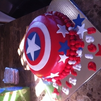 Diggy's Captain America Chocolate cake with strawberry filing covered in MMF