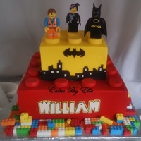 "Lego Movie Theme 10"" Vanilla w/Strawberry , 6"" Vanilla w/butter creamButter cream finishEmmet, Wyldstyle, and Batman are made of gum pasteLego..."