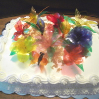 Gelating Flower Cake red velvet cake, gelatin flowers, gelatin butterfly, all edible