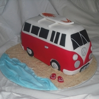 Kombi Van White chocolate with raspberry swirl mudcake with ganache and fondant.