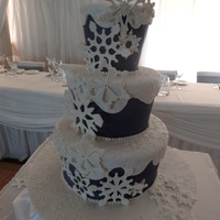 Snowflake Wedding Cake Navy Blue Fondant And White On Top Snowflakes Are Gumpaste With Royal Icing Piped Details On Them Cake Is A Layer Snowflake wedding cake. Navy blue fondant and white on top. Snowflakes are gumpaste with royal icing piped details on them. Cake is a layer...