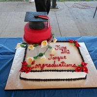 Grand-Daughters Graduation Base is Snow white icing, black star tip trim. Red Calla Lillys. Top tier is red fondant w/white calla lilly vine. Grad cap is Wilton small...