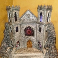 Goth Castle Goth castle. Castle made out of pastillage, gumpaste and fondant.,stained windows made with candy.