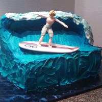 This Boy Wanted A Huge Wave With A Surfer Made The Wave Out Of Rkt On Top Of A Half Sheet Cake Surfer And Board Are Fondant *This boy wanted a HUGE wave with a surfer. Made the wave out of RKT on top of a half sheet cake. Surfer and board are fondant.