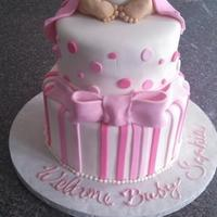 Baby Shower Cake With Rkt Baby Bum *Baby shower cake with RKT baby bum.