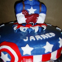 Captain America Red velet cake with fondant, tuffle filling and purchase figure.