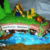 Camping Cake White cake with Vanilla beans, fresh strawberries and whip filling.Fondant decorations. Modeled after a picture my friend found on th...