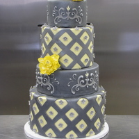 Grey And Yellow Diamond Cake